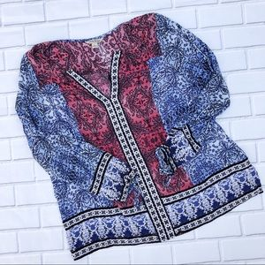 Lucky Brand Printed Tie Sleeve Boho Top